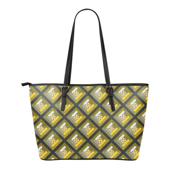 Log Cabin Quilt - Yellow and Grey Eco-Leather Tote Bag