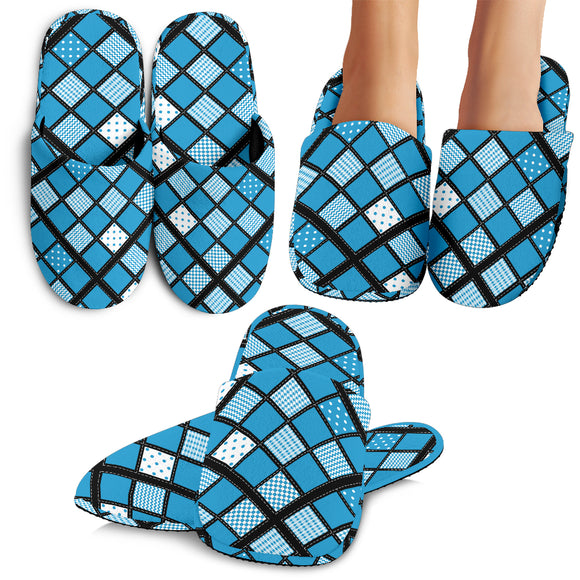 Blue Patchwork Quilt Slippers