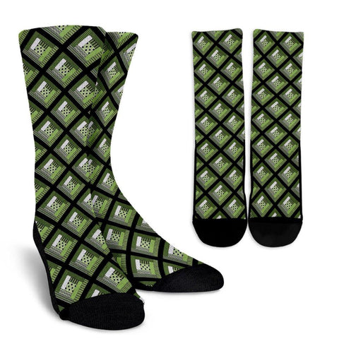 Log Cabin Quilt Crew Socks in Greenery