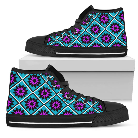 Teal and Purple Star Quilt High Top Shoes