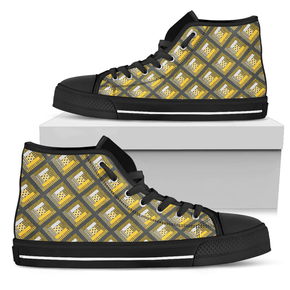 Log Cabin Quilt Womens High Top Shoes - Yellow and Grey