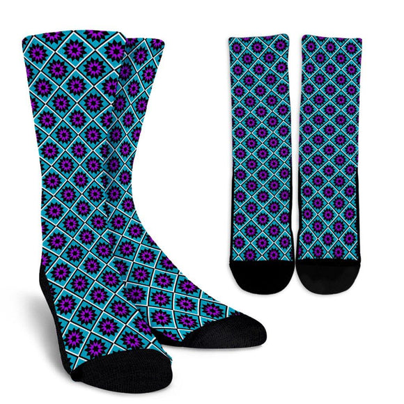 Quilt Star Crew Socks