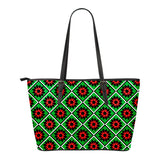 Red and Green Star Quilt Eco-Leather Tote Bag