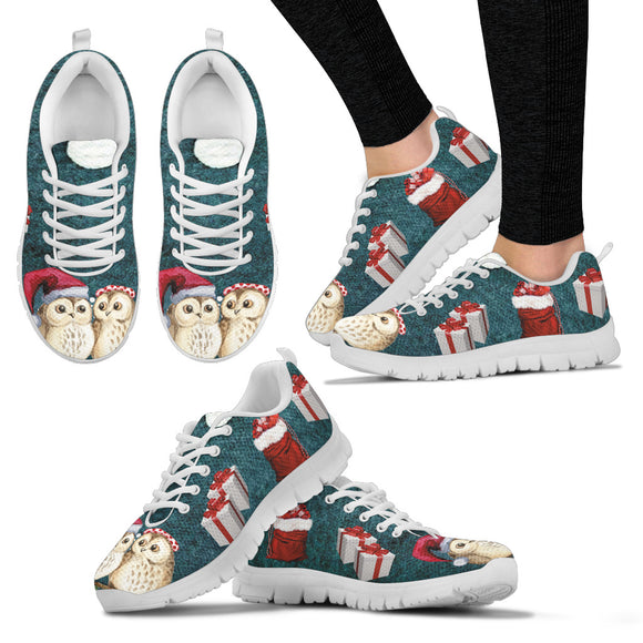 White Christmas Owl Women's Sneakers