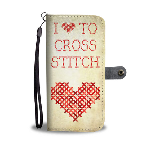 I Heart to Cross Stitch - Wallet Phone Case