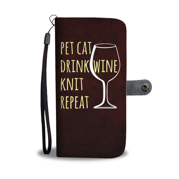Pet Cat-Drink Wine-Knit Wallet Phone Case