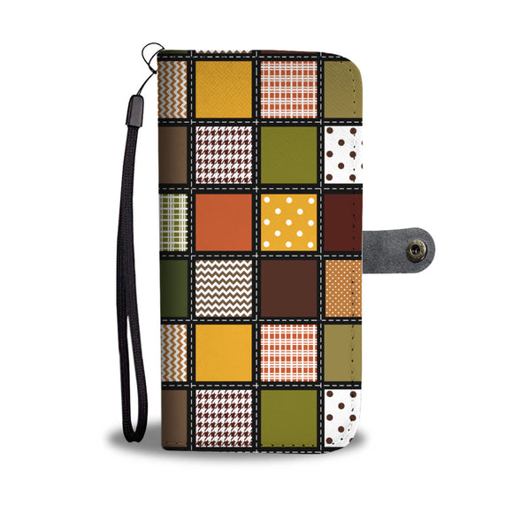 Fall Patchwork Wallet Phone Case