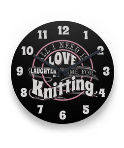 "Time for Knitting Wall Clock 11"" Round Wall Clock"