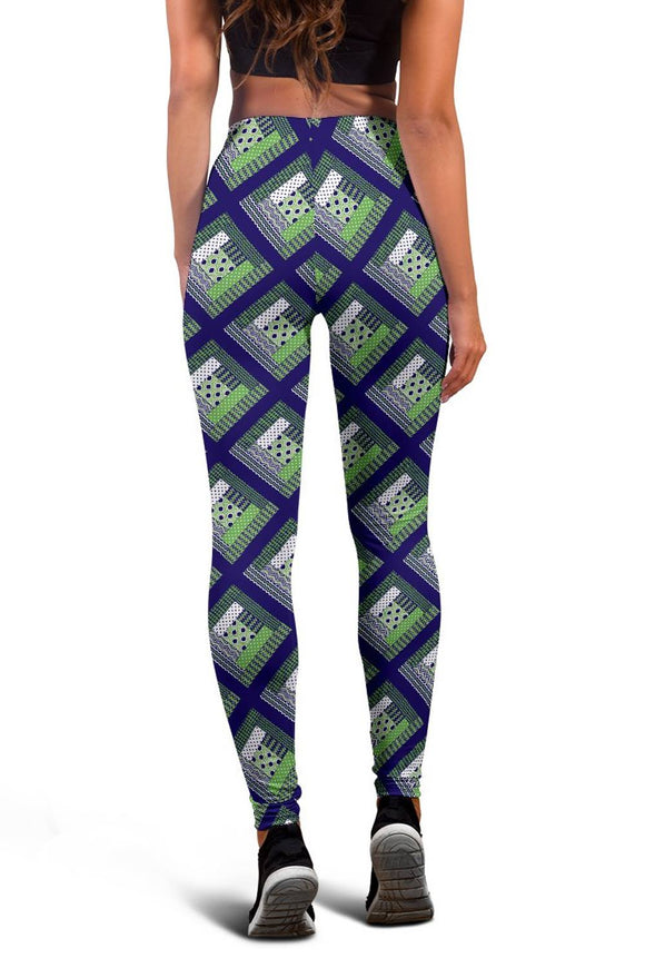 Log Cabin Quilt Leggings - Green and Blue