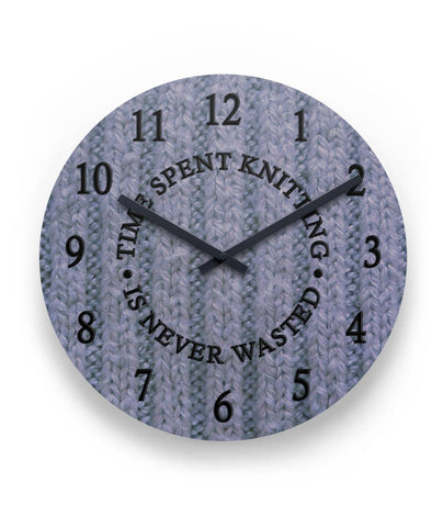 "Time Spent Knitting Wall Clock 11"" Round Wall Clock"