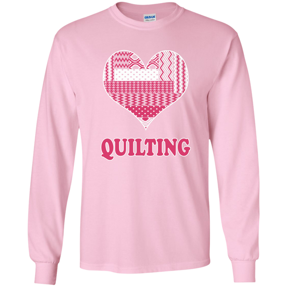Heart Quilting Long Sleeve Ultra Cotton T-Shirt - Crafter4Life - 1