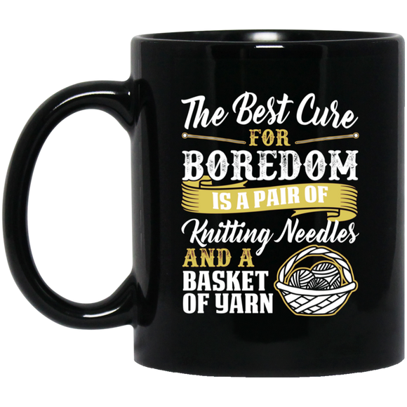 Cure For Boredom - Knitting - gold Black Mugs