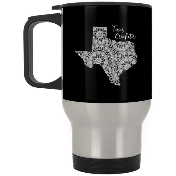 Texas Crocheter Silver Stainless Travel Mug