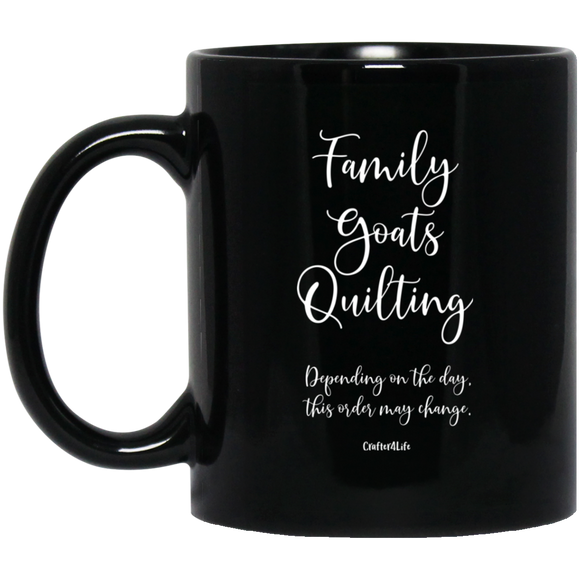 Family-Goats-Quilting Black Mugs