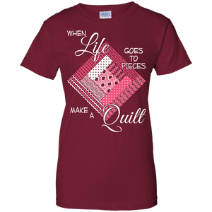 Make a Quilt (pink) Ladies Custom 100% Cotton T-Shirt - Crafter4Life - 1