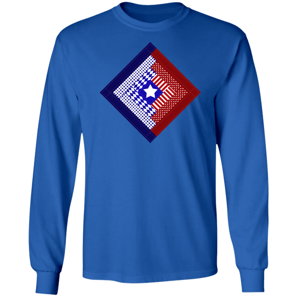 Patriotic Log Cabin Square LS Ultra Cotton T-Shirt
