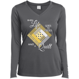 Make a Quilt (yellow) Ladies Long Sleeve V-neck Tee - Crafter4Life - 6