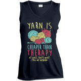 Yarn is Cheaper than Therapy Ladies Sleeveless Moisture Absorbing V-Neck