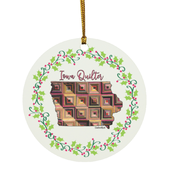 Iowa Quilter Christmas Circle Ornament