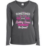 Put the Knitting Down Ladies Long Sleeve V-neck Tee - Crafter4Life - 4