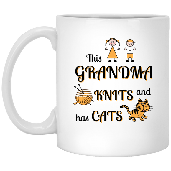 Grandma-Knit-Cats White Mugs