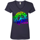 Quilters Create Piece Full Lives Ladies V-neck Tee - Crafter4Life - 6