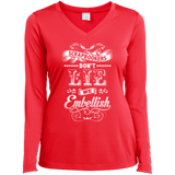 Scrapbookers Don't Lie Ladies Long Sleeve V-neck Tee - Crafter4Life - 6