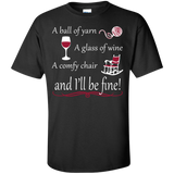A Ball of Yarn a Glass of Wine Men's and Unisex T-Shirts - Crafter4Life - 2