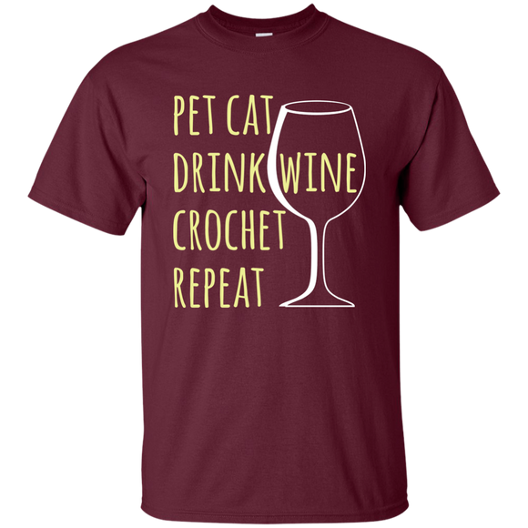 Pet Cat-Drink Wine-Crochet Ultra Cotton T-Shirt