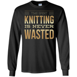 Time Spent Knitting Long Sleeve Ultra Cotton T-Shirt - Crafter4Life - 3