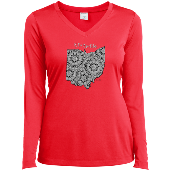 Ohio Crocheter Ladies' LS Performance V-Neck Shirt