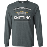 I Am Happiest When I'm Knitting Long Sleeve Ultra Cotton T-Shirt - Crafter4Life - 4