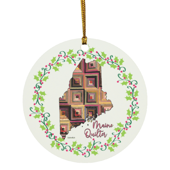 Maine Quilter Christmas Circle Ornament