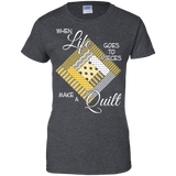 Make a Quilt (yellow) Ladies Custom 100% Cotton T-Shirt - Crafter4Life - 5
