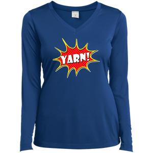Yarn! Comic Starburst Ladies LS Performance V-Neck T-Shirt