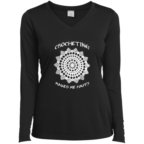 Crocheting Makes Me Happy Ladies LS Performance V-Neck T-Shirt