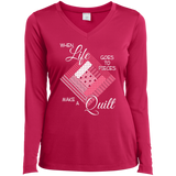 Make a Quilt (pink) Ladies Long Sleeve V-neck Tee - Crafter4Life - 2