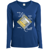 Make a Quilt (yellow) Ladies Long Sleeve V-neck Tee - Crafter4Life - 8