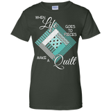 Make a Quilt (turquoise) Ladies Custom 100% Cotton T-Shirt - Crafter4Life - 6