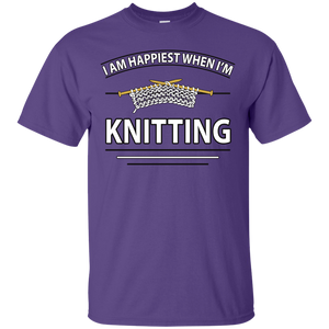 I Am Happiest When I'm Knitting Custom Ultra Cotton T-Shirt - Crafter4Life - 1