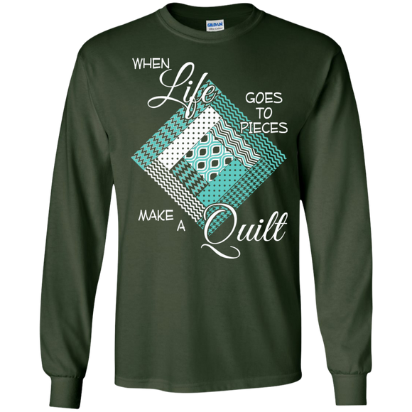 Make a Quilt (turquoise) Long Sleeve Ultra Cotton T-Shirt - Crafter4Life - 1