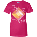 Make a Quilt (yellow) Ladies Custom 100% Cotton T-Shirt - Crafter4Life - 7