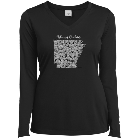 Arkansas Crocheter Ladies' LS Performance V-Neck Shirt
