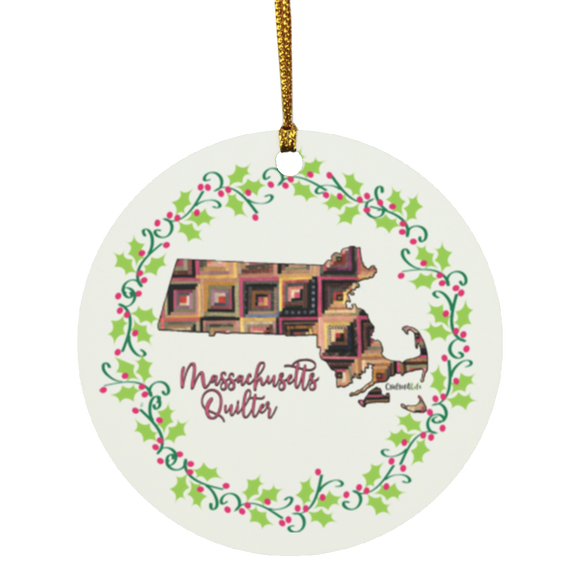 Massachusetts Quilter Christmas Circle Ornament