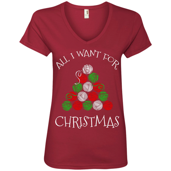 All I Want for Christmas is Yarn Ladies V-Neck Tee