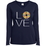 LOVE Quilting (Fall Colors) Ladies Long Sleeve V-neck Tee - Crafter4Life - 3