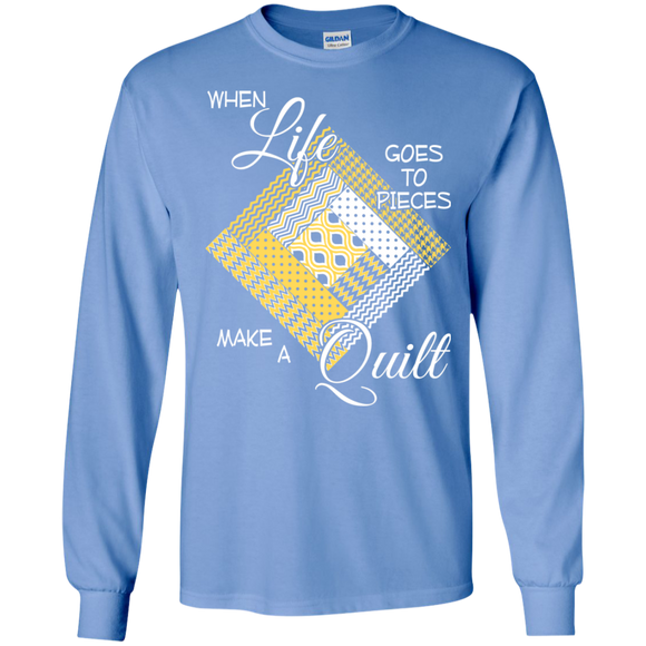 Make a Quilt (yellow) Long Sleeve Ultra Cotton T-Shirt - Crafter4Life - 1