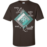 Make a Quilt (turquoise) Custom Ultra Cotton T-Shirt - Crafter4Life - 4