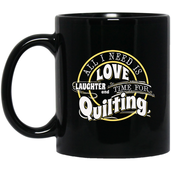 Time for Quilting Black Mugs