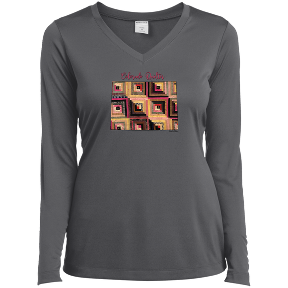 Colorado Quilter Ladies' LS Performance V-Neck Shirt
